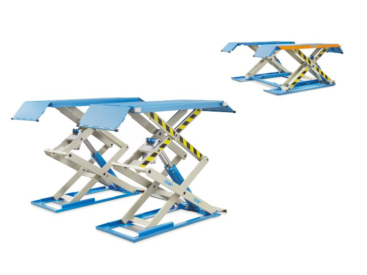 Electrohydraulic twin-scissor lifts