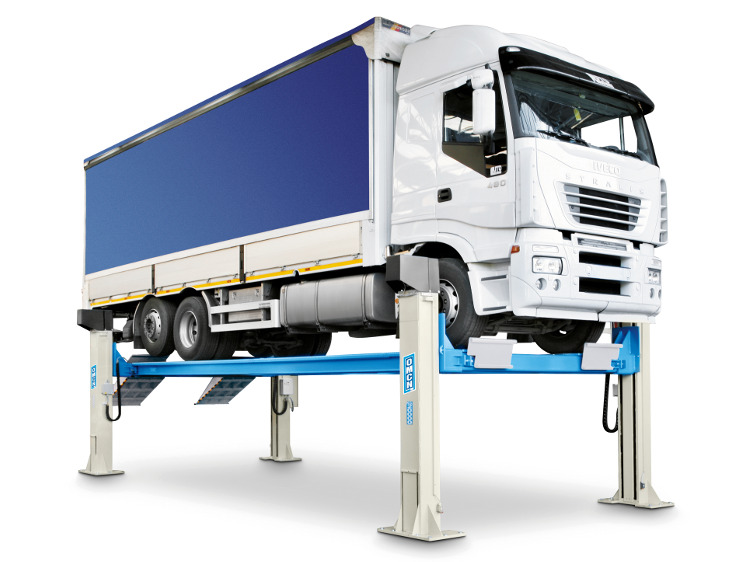 Electromechanical 4-post lifts for heavy vehicles